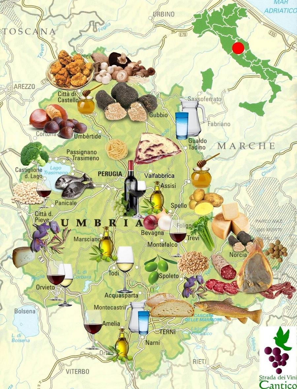 Umbria Cartina Turistica.Mappa Umbria Con Enogastronomia Le Torri Di Bagnara